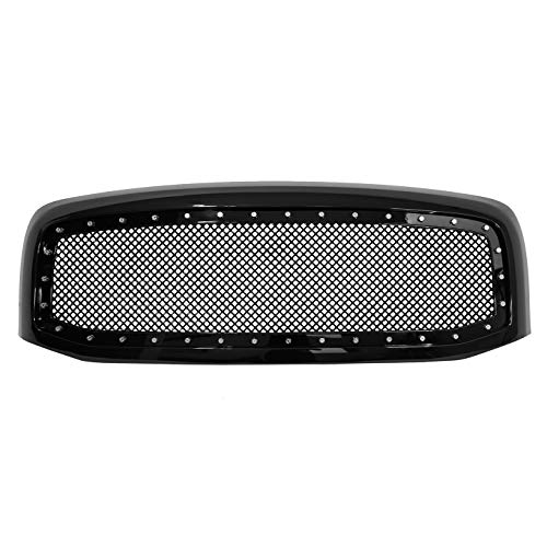 - Paragon Front Grille for 2006-08 Dodge Ram 1500/2500/3500 - Gloss Black Grill Grilles with Mesh and Rivets