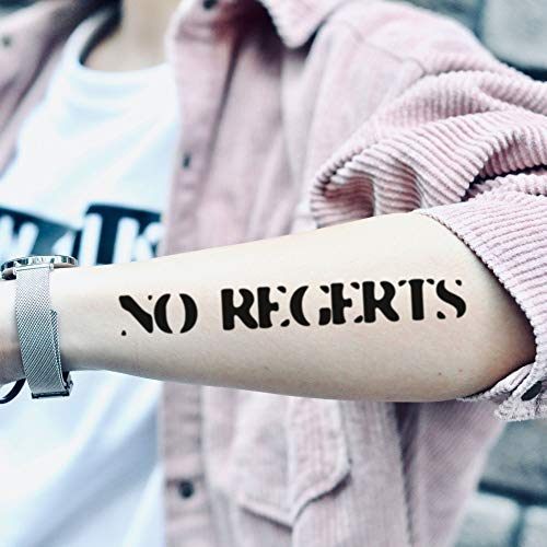 Amazon Com No Regerts Temporary Tattoo Sticker Set Of 2 Www Ohmytat Com Beauty