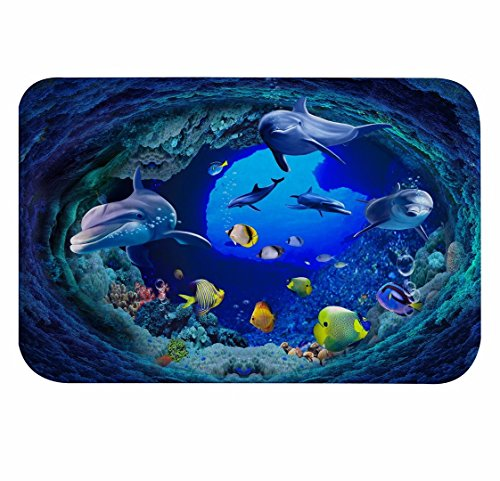 A.Monamour Blue Deep Ocean Underwater Swimming Dolphin Yellow Fishes Coral Marine Life Themed 3D Print Soft Absorbent Flannel Microfiber Non-Slip Bathroom Mat Bath Rugs Doormat 40x120cm / 15.7