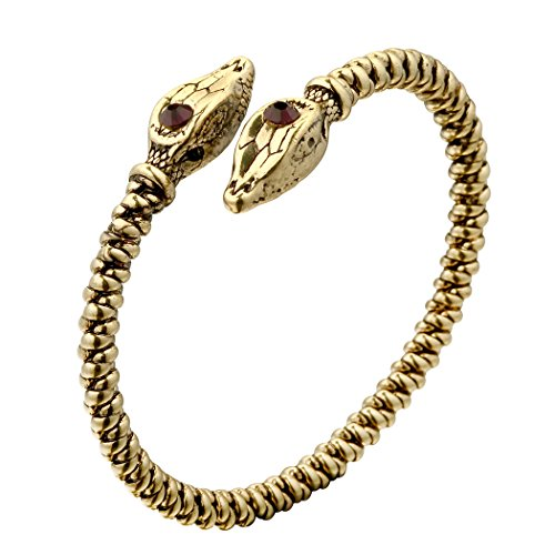 - Qiandi Cool Mens Opposite Red Zircon Snake Head Themed Twisted Wire Viking Cuff Bangle Bracelet