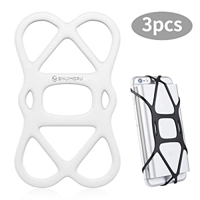 Sinjimoru Cell Phone Band Holder for Portable Charger, Elastic Rubber Silicone Band Lock Holder for Power Bank on iPhone, Security Strap Bike Mount.Silicone Band Holder, White 3pc: Electronics