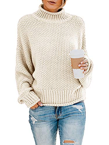 Ybenlow Womens Turtleneck Sweaters Batwing Long Sleeve Casual Loose Oversized Chunky Knit Pullover Jumper Tops White (Best Women's Turtleneck Sweaters)