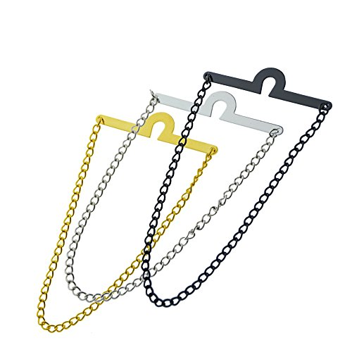 MMNNE 3Pack Men's Single Loop Tie Chain Set with Waterproof Gift Bag (3pcs each of gold silver black) by MMNNE
