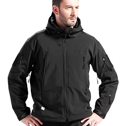 FREE SOLDIER Tactical Jacket Soft Shell Fleece Lined Water Repellent Coat Windproof Outwear Camouflage Jacket(Black XXL) (Best Hard Shell Jacket For Skiing)