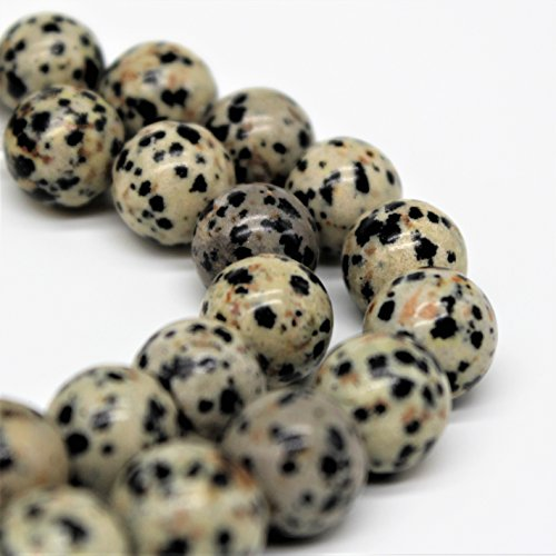 - Dalmatian Jasper Gemstone Loose Beads 8mm 46 Beads Per 15.5