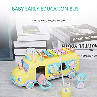 JAMOR Hand Knock on The Piano Toy Car Eight-Tone Piano Toy Puzzle early Education Toy Children's Music Toy Beat The Instrument Push-Pull Bus Toy Car Building Block Toy (Green): Office Products
