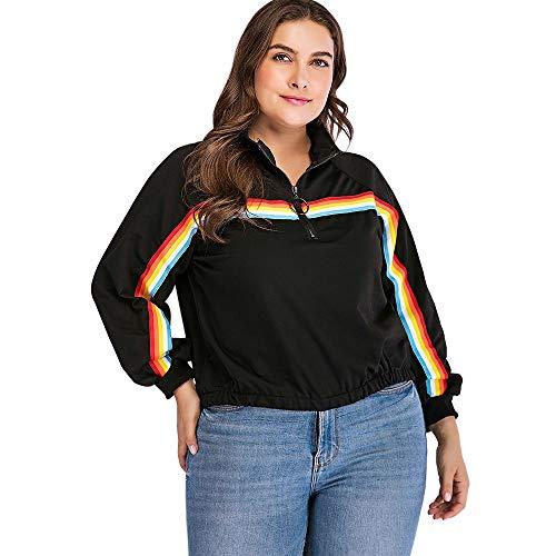 Con Autunno 4xl Top Pullover Plus Wgysqcao Mezza Stripes Casual Rainbow Donne Patchwork Size Felpa Sleeve Raglan Cerniera Cappuccio RqqZwPT4x