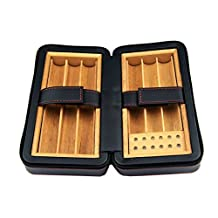 E-SDS Portable Travel Black Case Cigar PU Leather Wood Humidor 6-Finger Cigar Box