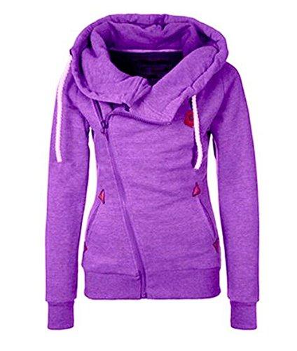 Abrigos Capucha Outwear Cremallera Con Con Ocasionales Bolsillo Con Manga Purple Larga Chaquetas Invierno Tops Cardigan Chaqueta BESTHOO Mujer Clasicos Joven qwCZIZ