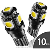 Marsauto T10 168 194 2825 LED Bulbs Super Bright 5SMD Exterior License Plate Lights Lamp, Car Interior Courtesy Dome Lights Map White 10-Pack