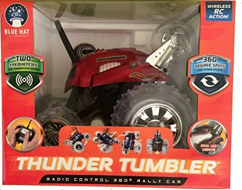 Thunder Tumbler Radio Control 360 Degree Rally Car Red (Blue Hat Toy Company Thunder Tumbler Rc Car)