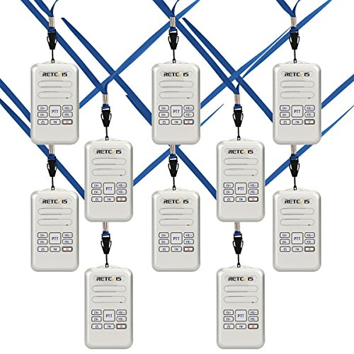 Retevis RT20 Two Way Radios Mini Size VOX FM Rechargeable Security 2 Way Radios Walkie Talkies(Silver, 10 Pack)