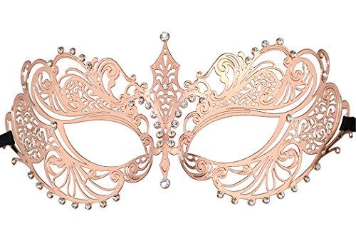 Thmyo Women's Laser Cut Metal Venetian Halloween Mardi Gras Party Mask (Rose (Mardi Gras Roses)