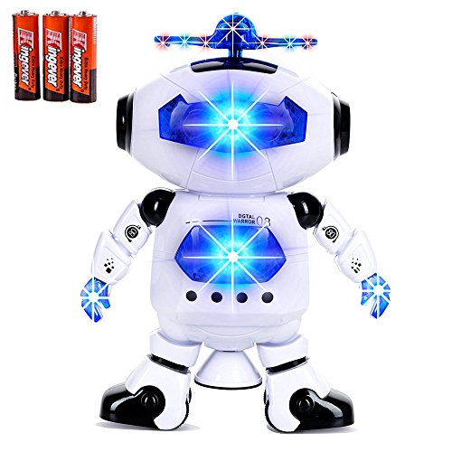(Toysery Electronic Walking Dancing Robot Toys With Music Lightening For Kids Boys Girls Toddlers, Battery Operated Included)