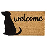 Evergreen Flag Dog Welcome Shaped Coir Mat - 28 x 1 x 16 Inches