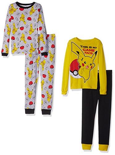 Pokemon Boys' Big Pikachu 4-Piece Cotton Pajama Set, Yellow, 8 -