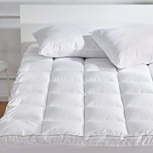 SLEEP ZONE Luxury Mattress Pad Cover Cotton Top Overfilled Extra Thick Soft Down Alternative Topper Quilted Pillow Top Upto 21 inch Deep Pocket, White, Twin