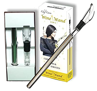 Wine Gift Bundle - Wine Saver, Wine Wand & Wine Key from Chef Caron - Wine Preserver Vacuum Pump w/ 4 Stoppers, Wine Wand 3-in-1 Cooler Pourer Aerator & Sommelier Wine Key Corkscrew & Foil Cutter …
