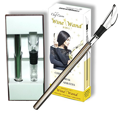 The Original Wine Wand - Wine Pourer, Aerator & Iceless Chiller by Chef Caron 3 in 1 Accessory - Perfect Gift for Any Wine Lover - Us Shipping Free Coupon With Wrap