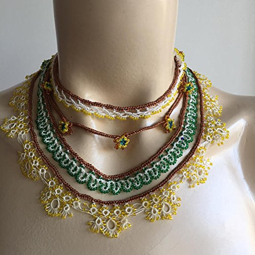 Beaded Lace Necklace-Crochet and Tatting Necklace with brown, yellow, green beads ()