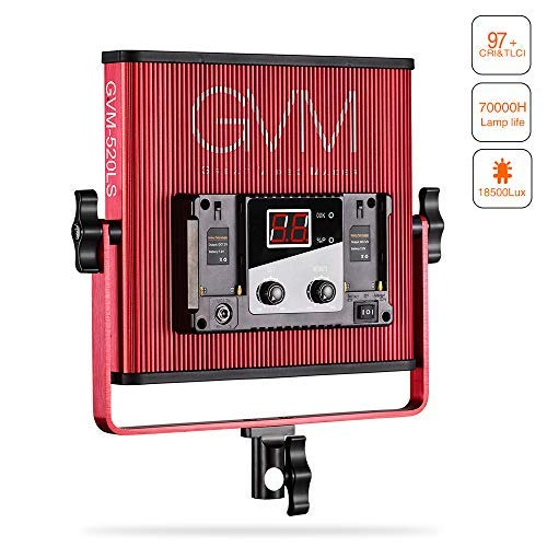 GVM Professional LED Video Lights with Barn-Door Dimmable 3200K-5600K Photography Lighting Kit CRI 97 18500 lux Camera LED Light Panel for for Studio YouTube Product Portrait Photo Shoot