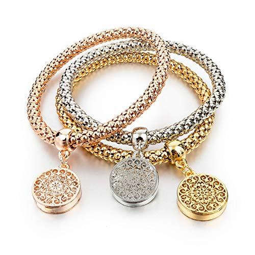 Vintage Designer Austrian Rhinestones Gold Color Tree of Life Charm Bracelets Popcorn Chain Jewelry for Women SBR160104,SBR140339GD ()