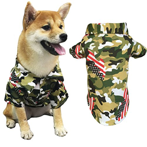 American Flag Pet Dog T-Shirt Costume Apparel Camouflage for Puppy (4 Dog T-shirt)