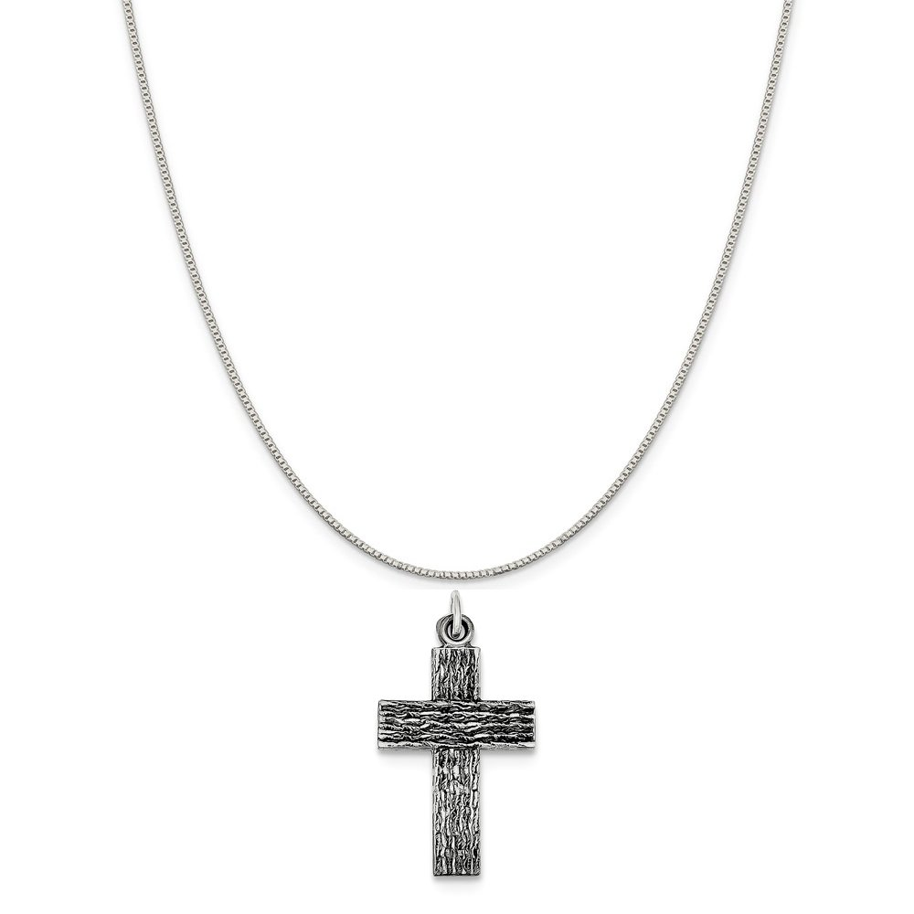 16-20 Mireval Sterling Silver Antiqued Cross Charm on a Sterling Silver Chain Necklace