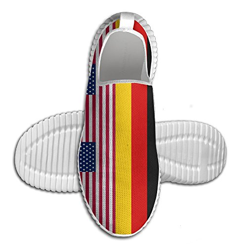 Oeuf Oeuf Usa Allemagne Drapeau Femmes Mocassins Mens Chaussures De Course Respirant Maille En Plein Air Sport Chaussures De Marche Blanc