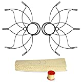 Pair of Medium Lotus Fire Fans 2inch Wick Kit - Make Your Own - Black
