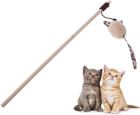 WUXXX Juguete para Gato Flexible de caña de Pescar de Madera ...