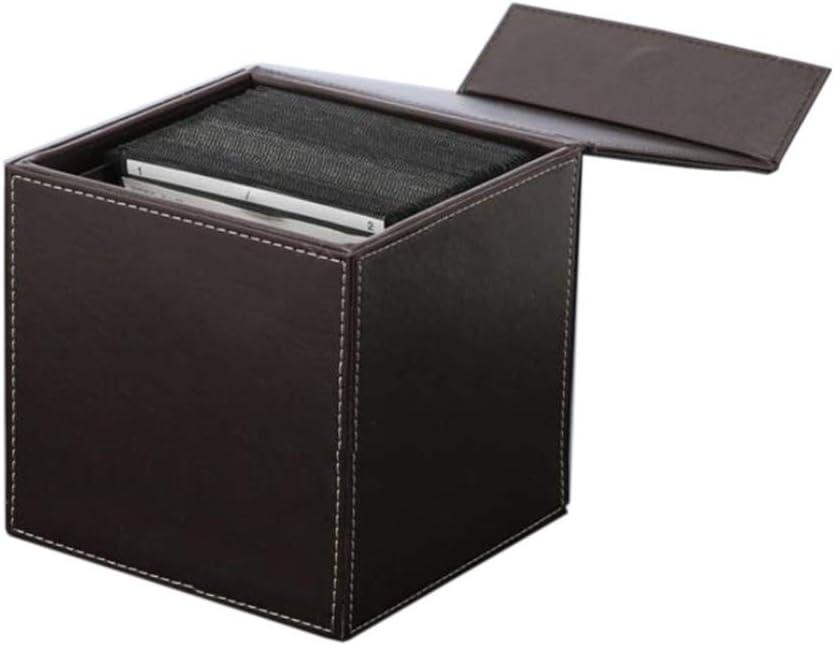 Jcnfa-Estante CD De Cuero/Caja De Almacenamiento De DVD, Caja De Almacenamiento De 80 Discos, Cierre Magnético, Disco Portable De La Carpeta del Organizador del Almacenaje De Viaje En Coche