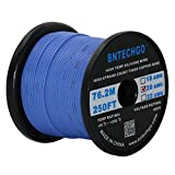 600 volt wire - BNTECHGO 20 Gauge Silicone Wire Spool Blue 250 feet Ultra Flexible High Temp 200 deg C 600V 20AWG Silicone Rubber Wire 100 Strands of Tinned Copper Wire Stranded Wire for Model Battery Low Impedance