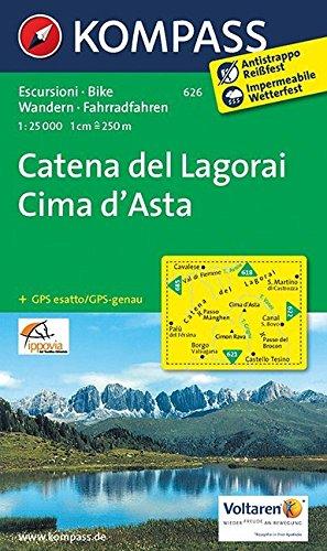 Catena del Lagorai - Cima d'Asta: Wanderkarte mit Radrouten. GPS-genau. 1:25000 (KOMPASS-Wanderkarten, Band 626)