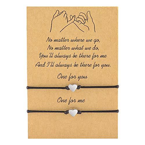 Cheerslife 2Pcs Armband Schmuckseil justierbare Schnur Glücksbringer handgemacht Geflochten schmuck für Beste Freundin Geschenk für Paar Mutter Tochter