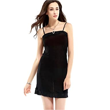 66aa47c4c6d 100% Pure Mulberry Silk Strappy Lace Full Slips Adjustable Spaghetti Sexy  Cami Sleepwear at Amazon Women s Clothing store