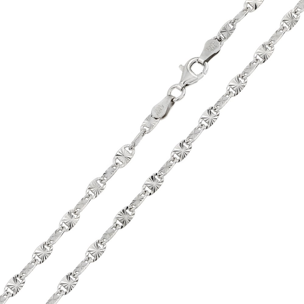 CloseoutWarehouse Rhodium Plated Sterling Silver Star Diamond Cut Confetti 065 Chain 3.3mm