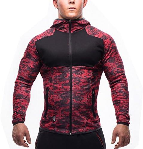 (Ruuko)メンズ 迷彩スウェットジップパーカ トレーナーパーカ トレーニング スウェットシャツ (M, 赤い)