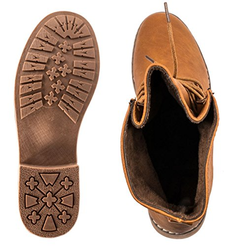 Pelle Donna Elara Effetto New York Chunkyr Boots Ayan Da Camel Stivaletto Trendy Biker a0A0Hwx