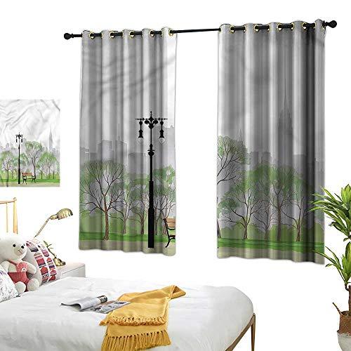 - familytaste New York Room Darkening Curtain Central Park Scene Bench Living Room Drapes W55 x L72