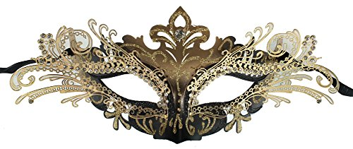 RedSkyTrader Womens Black Fairy Laser Cut Mask One Size Fits Most Black -
