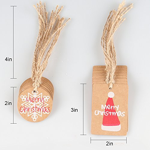 C COOGAM 50 Pack Brown Kraft Paper Christmas Gift Tags with Twine String Tie on Smooth for Writing - 5 Designs for DIY Xmas Holiday Present Wrap Stamp and Label Package Name Card