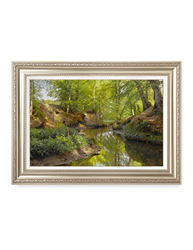 DECORARTS Sunlight in a Wood 1912, Monsted landscape art Reproduction. Giclee Prints Matching Museum Frame for Home Decor, Framed size: 36x26 (1912 Framed Print Giclee)
