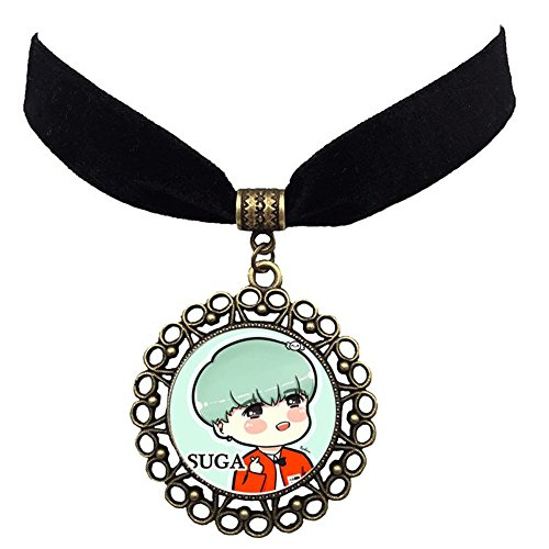 (Youyouchard BTS Bangtan Boys Fashion Sexy Vintage Black Necklace Kpop Pendant Choker Necklace with 2 BTS Vintage Brooches(BK12))
