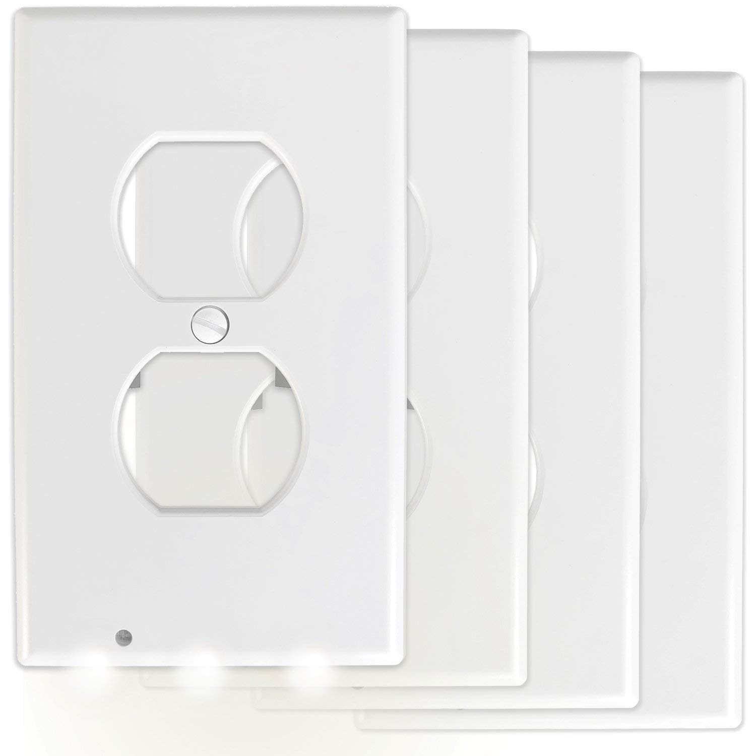 [NEW RELEASE - PREMIUM CONNECTORS] 4-Pack KCC Industries Outlet Wall Plate With LED Night Lights - No Batteris Or Wires - Installs In Seconds (Cool Bright White Lights)