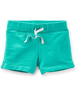 Baby Girl French Terry Shorts-Teal
