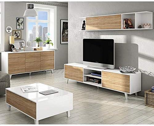 HABITMOBEL Conjunto de salón Comedor, módulo TV + Estante + Mesa ...