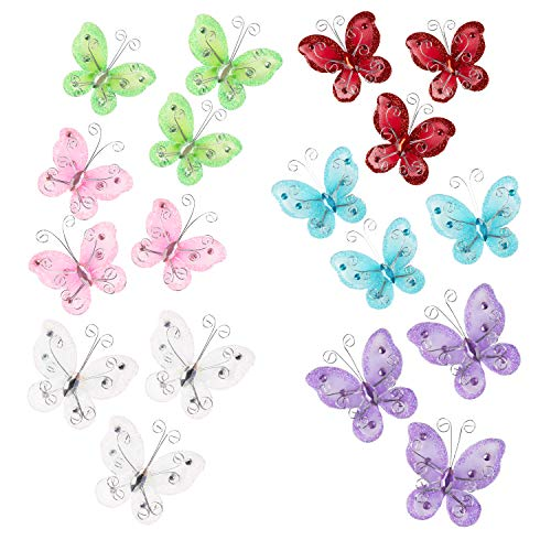 Glitter Butterflies - 48-Pack Wire Butterflies, Organza Butterflies, Butterfly Embellishments, Perfect Table Scatter for Wedding and Birthday Party Decoration, Assorted Colors, 2.25 x 2.25 inches