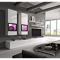 Baros Wall Unit / Modern Entertainment Center / Contemporary Design / LED Lights / High Capacity Storage (White)