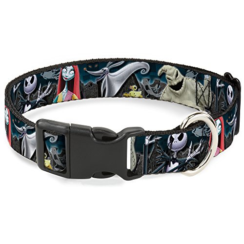 Buckle-Down Plastic Clip Collar - Nightmare Before Christmas 4-Character Group/Cemetery Scene - 1/2
